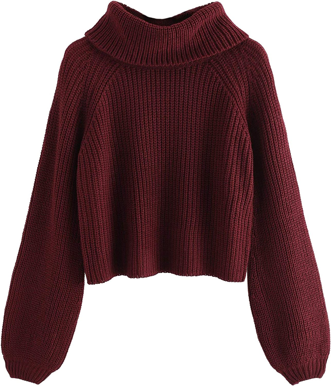 Milumia Women's High Neck Long Bishop Sleeve Jumper Sweater Turtleneck Crop Tops