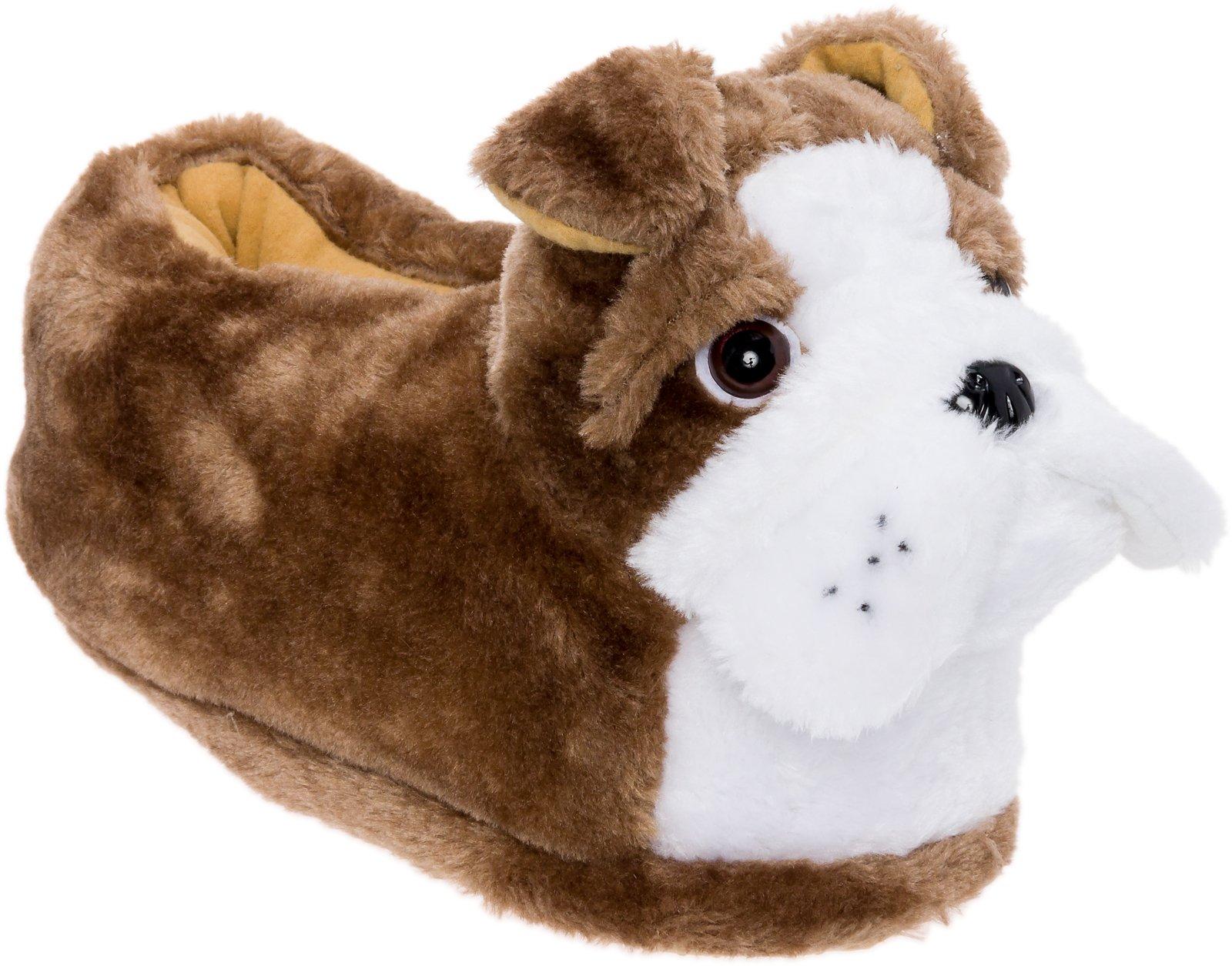 Silver Lilly English Bulldog Slippers - Plush Animal Slippers w/Platform by (Tan/White, Medium)