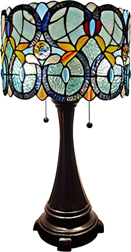 Amora Lighting Tiffany Style Table Lamp Banker Floral 21″ Tall Stained Glass White Green Red Yellow Blue Vintage Antique Light D cor Nightstand Living Room Bedroom Handmade Gift AM286TL12