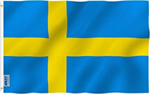 Anley Fly Breeze 3x5 Foot Sweden Flag - Vivid Color and Fade Proof - Canvas Header and Double Stitched - Swedish Banner Flags Polyester with Brass Grommets 3 X 5 Ft