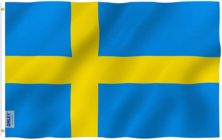 Anley Fly Breeze 3x5 Foot Sweden Flag Vivid Color And Fade Proof Canvas Header And Double Stitched Swedish Banner Flags Polyester With Brass Grommets 3 X 5 Ft Garden Outdoor