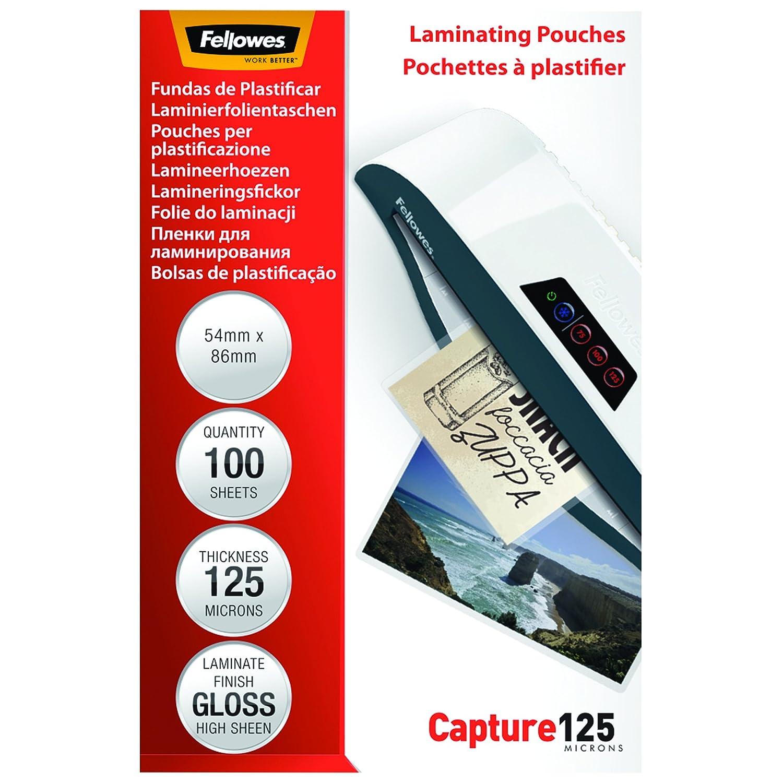 Fellowes 5306302 Pouches Lucide Capture125, Formato 54x86 mm, 125 Micron, Confezione da 100 Pezzi