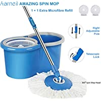 AARNEIL Spin Mop Bucket 360 with Plastic Basket Offer 2 Refill Bucket with Wheel to Easy Moving. (Random Color)