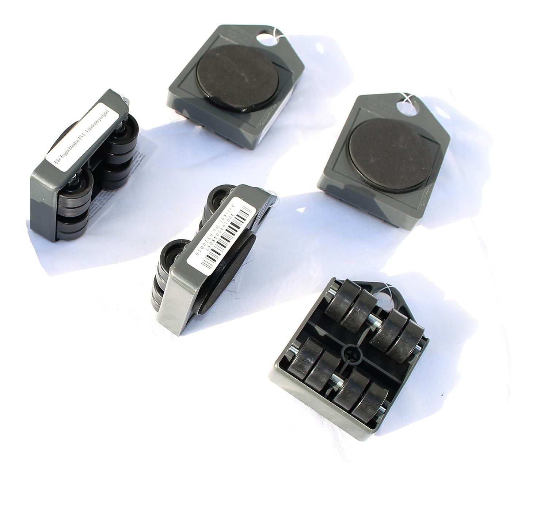 Lote de 5 patines sobre ruedas muy Stables para útil para muebles o armarios, ruedas antiarañazos para todo tipo de suelo, con patín antideslizante y ...