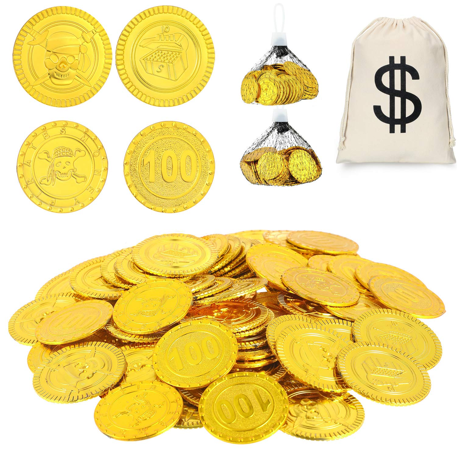 200 Pieces Gold Plastic Coins Toy Play Coins Treasure Pirate Coins Robber Costume Coins with Dollar Symbol Drawstring Bag for Pirate Party Halloween Costume by Boao