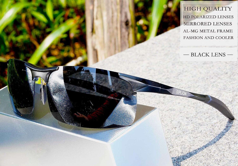 dfd6e25a6f661 SIPLION Men s Driving Polarized Sport Sunglasses Al-Mg Metal Frame Ultra  Light 8177 Black  Amazon.co.uk  Clothing