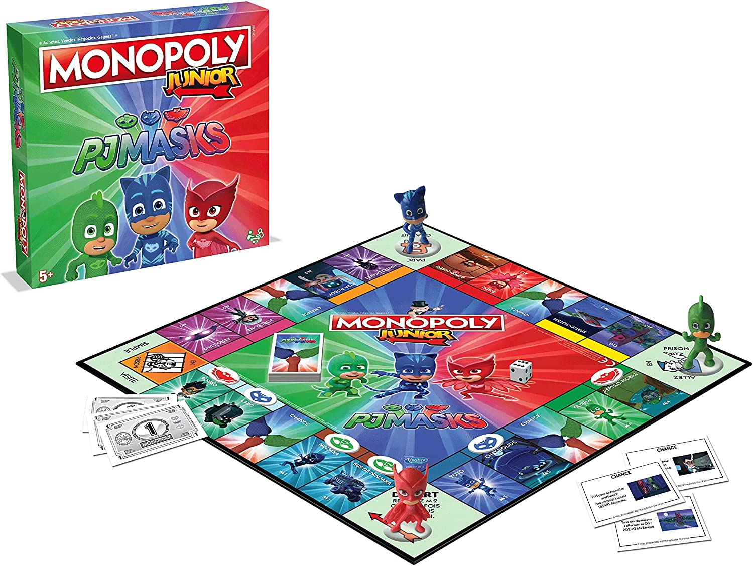 Winning Moves Monopoly Junior pyjamask, 0238, Version Francesa: Amazon.es: Juguetes y juegos