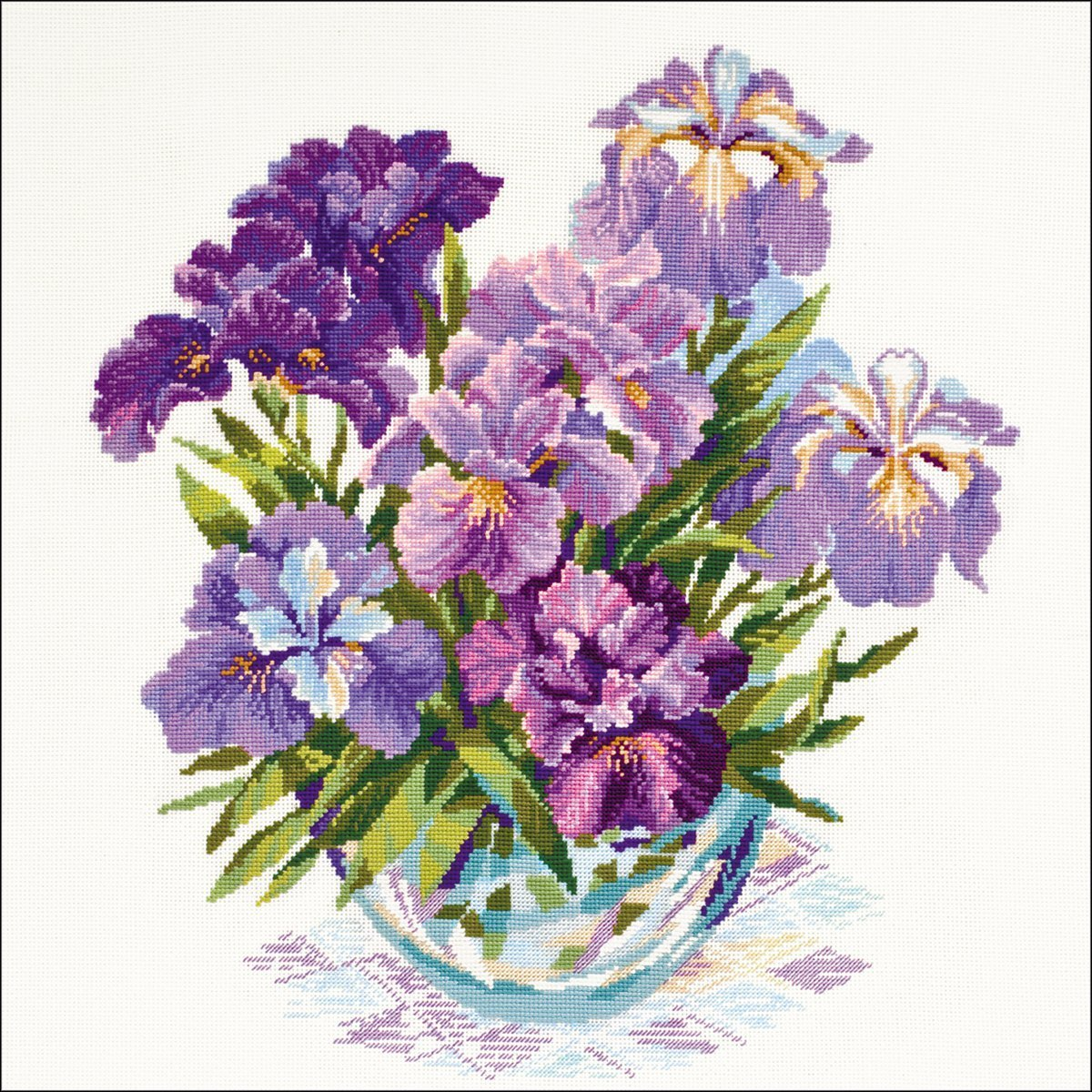 Irises In Vase Counted Cross Stitch Kit17.75 X17.75  14 Count