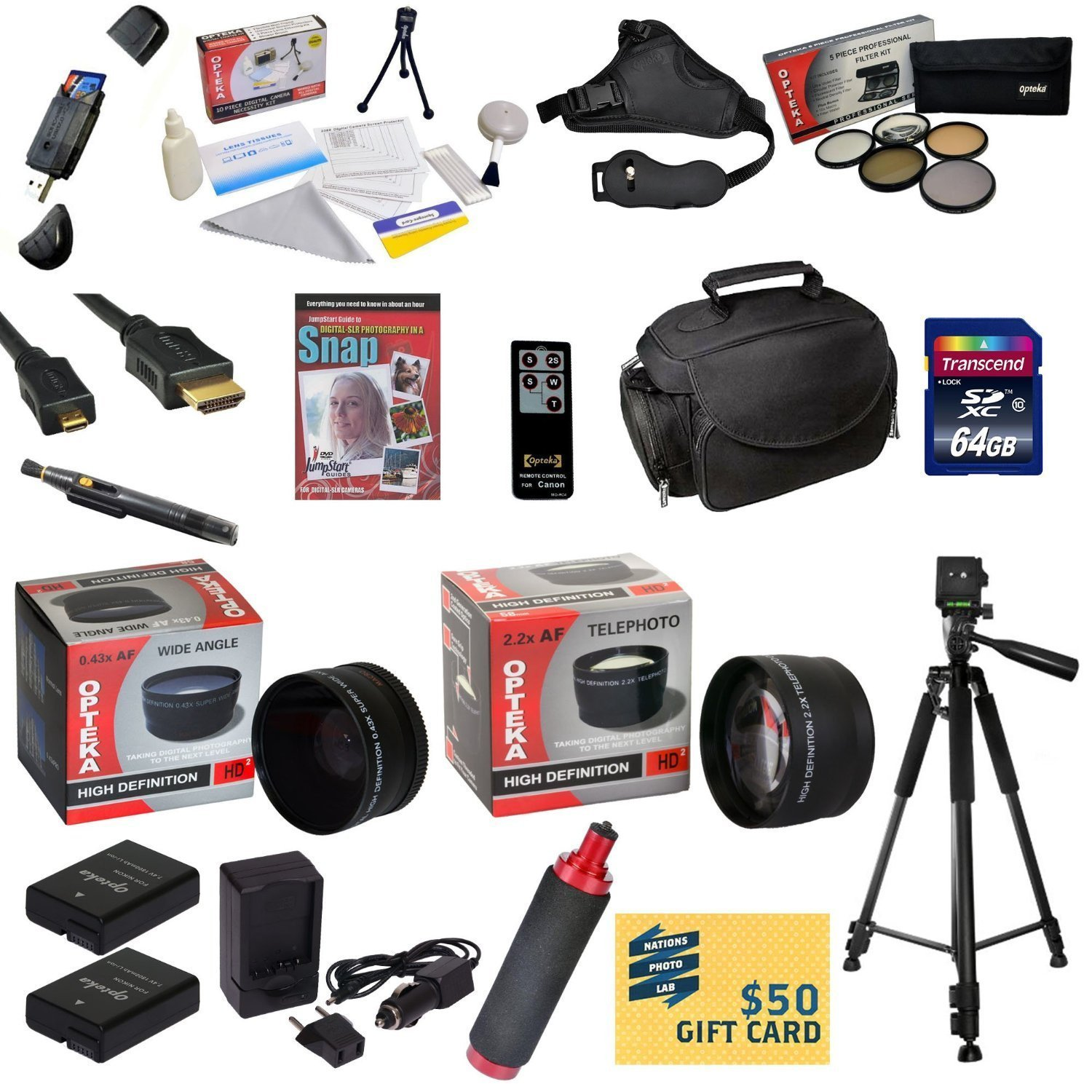 47th Street Photo Ultimate Accessory Kit for the Nikon D40, D40x, D60, D3000, D5000 - Kit Includes: 64GB High-Speed SDXC Card + Card Reader + 2 Extended Life Batteries + Travel Charger + 52MM 0.43x HD2 Wide Angle Macro Fisheye Lens + 52MM 2.2x HD2 AF Tele by 47th Street Photo