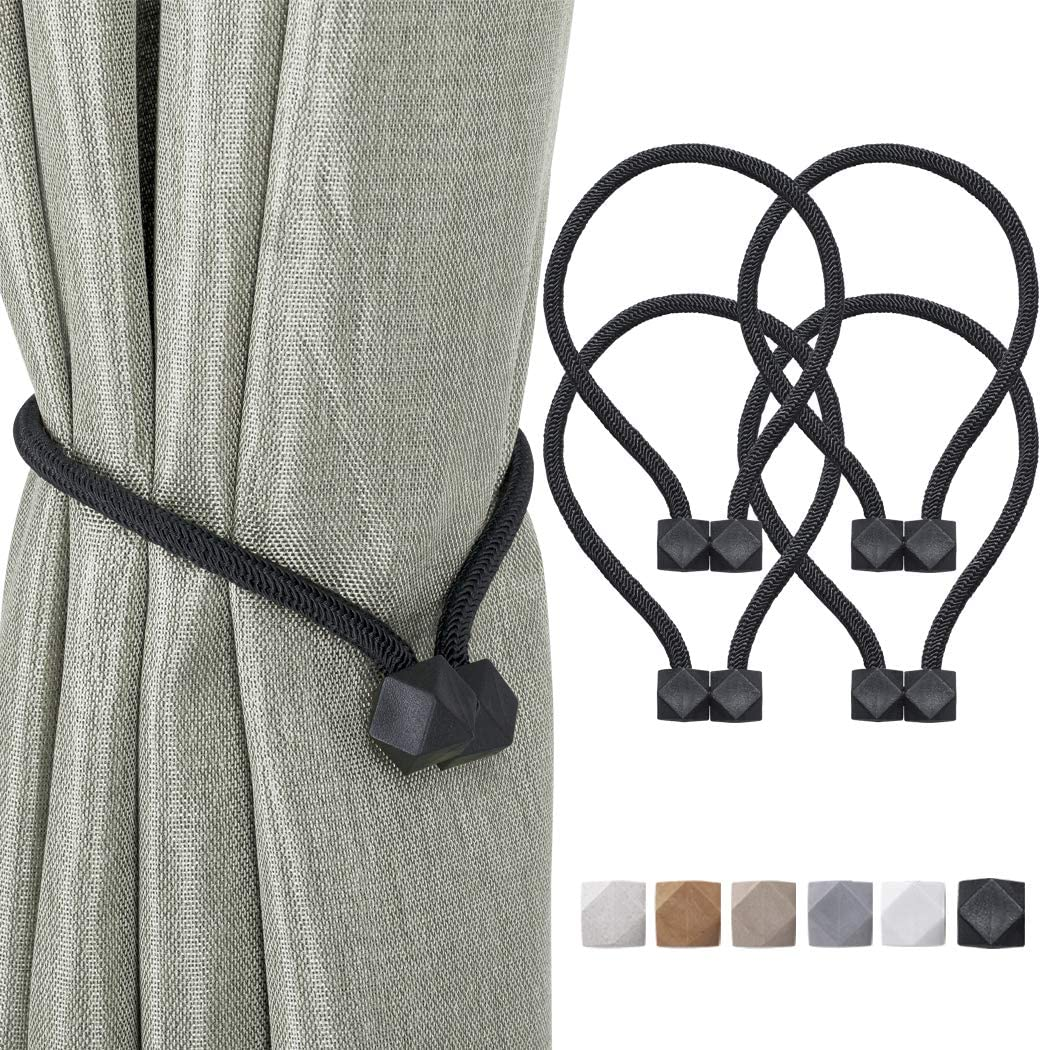 Home Queen Magnetic Curtain Tiebacks, Decorative Drape Tie Backs Holdback Holder for Window Draperies, 4 Pack, Solid Black: Home & Kitchen