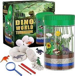 X TOYZ Terrarium Kit for Kids with 4 Dinosaur Egg Dig Bonus Toys, Create Your Own Mini Dinosaur Garden, LED Light on Lid Glows at Night, STEM Educational DIY Science Plant Kit Gifts for Boys Girls