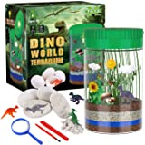 X TOYZ Terrarium Kit for Kids with 4 Dinosaur Egg Dig Bonus Toys, Create Your Own Mini Dinosaur Garden, LED Light on Lid Glow