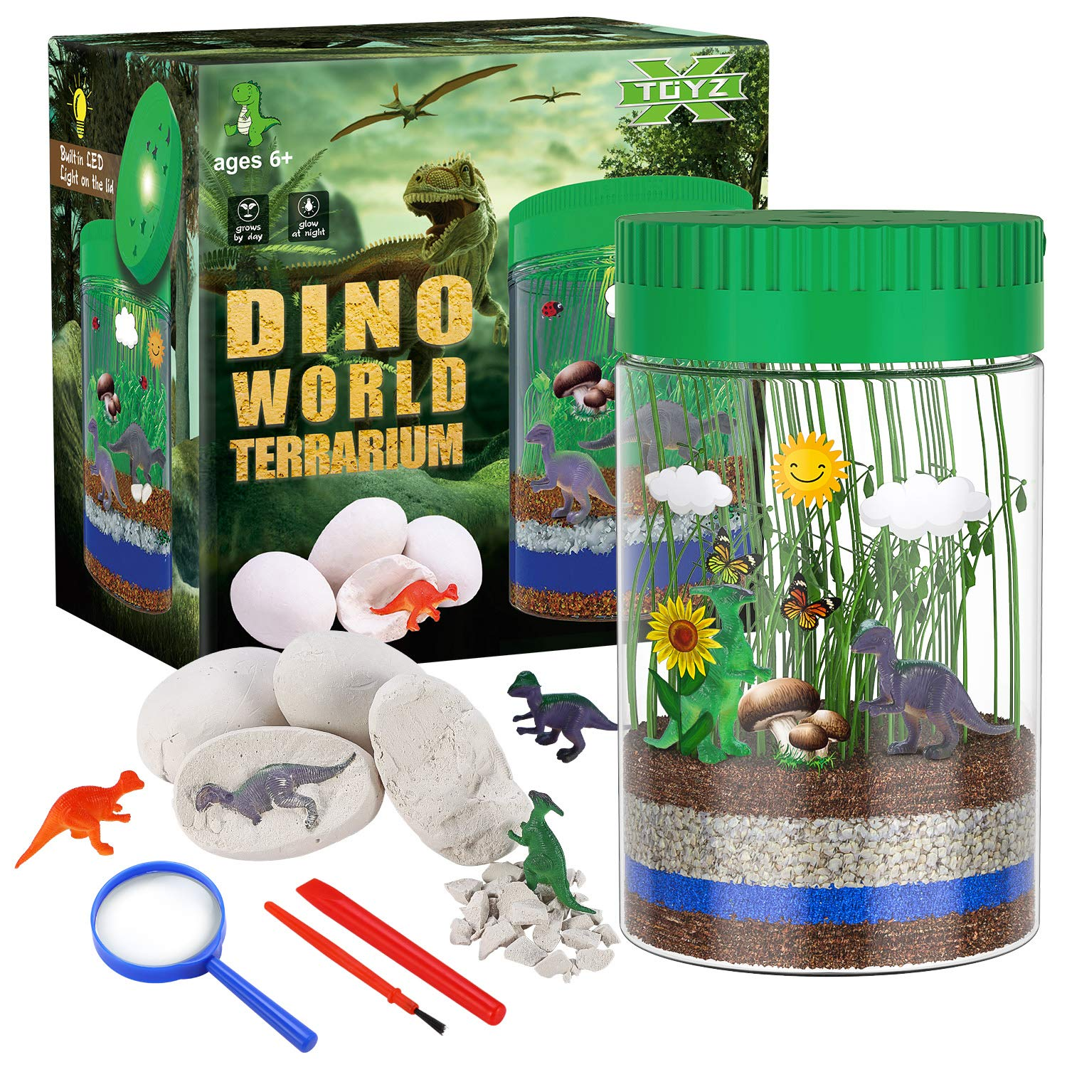 X TOYZ Terrarium Kit for Kids with 4 Dinosaur Egg Dig Bonus Toys, Create Your Own Mini Dinosaur Garden, LED Light on Lid Glows at Night, STEM Educational DIY Science Plant Kit Gifts for Boys Girls