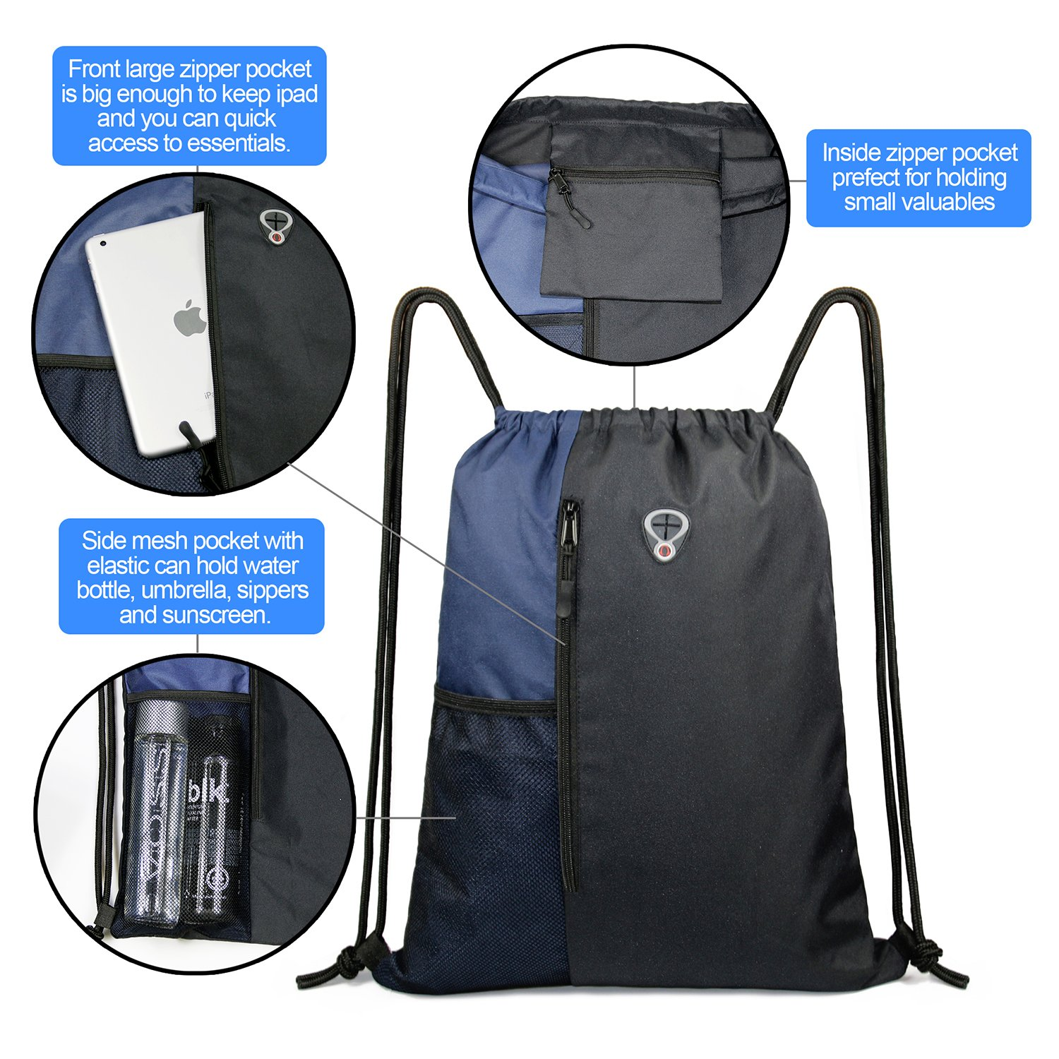 Drawstring Backpack Sports Gym Bag for Women Men Children Large Size with Zipper and Water Bottle Mesh Pockets (Black/Navy) by BeeGreen (Image #2)