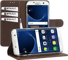 StilGut Talis, Custodia con Funzione Supporto e Scomparti per Carte di Credito per Samsung Galaxy S7 Edge, Cognac