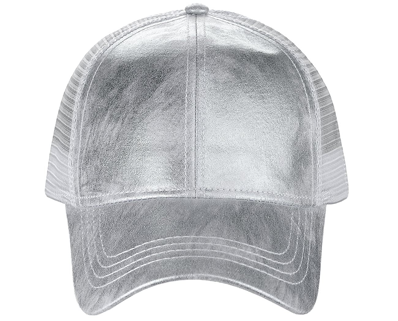 c53054189 CC Unisex Metallic Glossy Feel Front Panel Adjustable Mesh Trucker Baseball  Cap