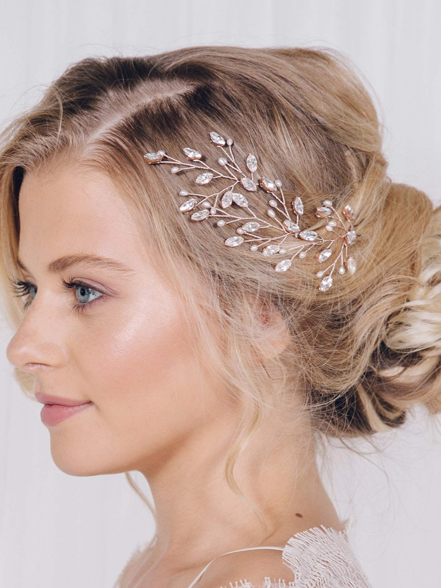 Amazon Fxmimior Bridal Hair Accessories Pearl Crystal Hair