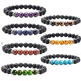 Amazon Price History for:J.Fée 7 Pack 7 Chakras Gemstone Bracelet Men&Women Lava Stretch Bracelet - 7 Pack Bracelets Series