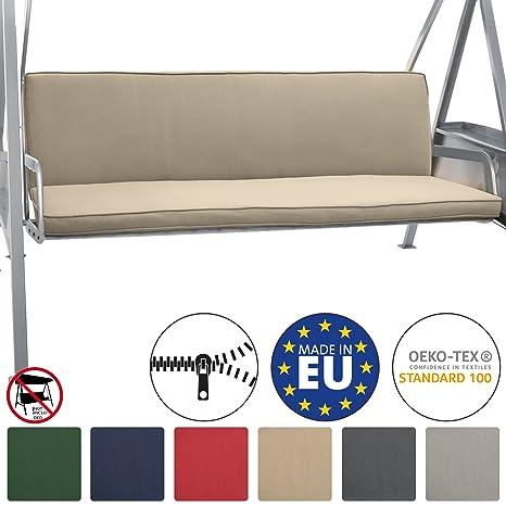 Beautissu Loft HS Set 2 Cojines colchoneta para Bancos Columpio Hollywood 180x50 Natural Asiento y Respaldo 3 plazas
