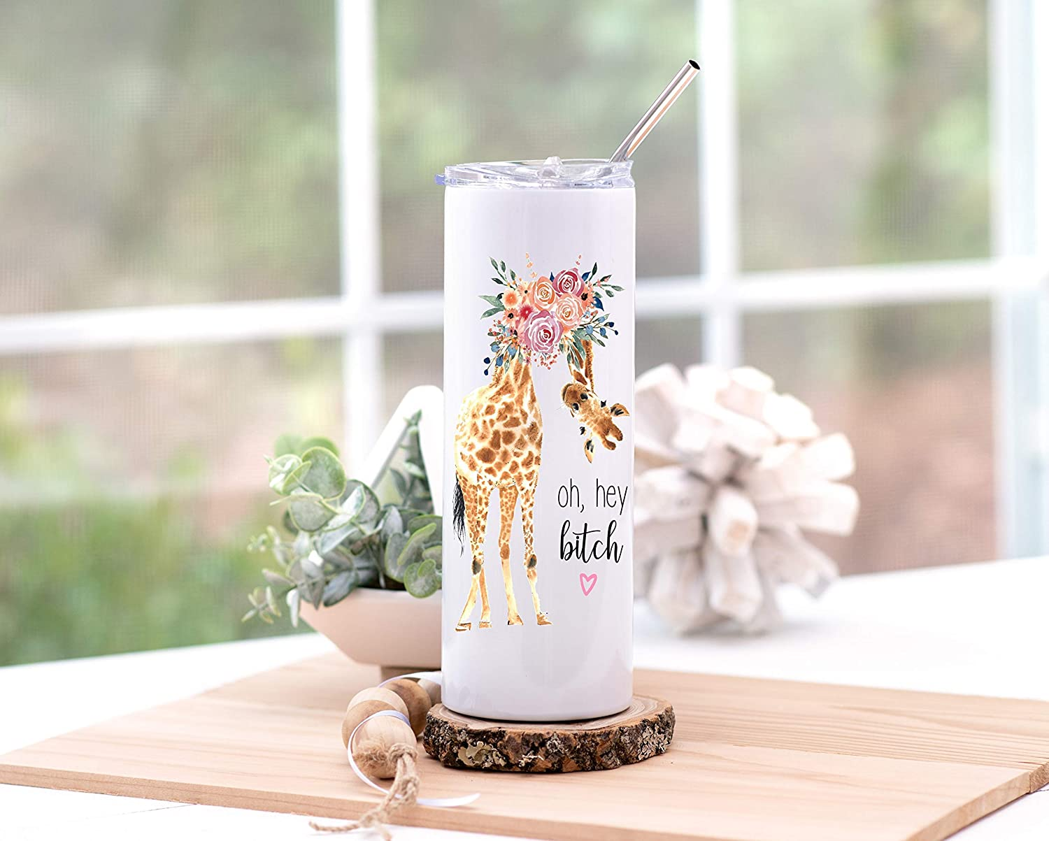 Oh Hey Bitch 20 oz Stainless Steel Skinny Tumbler With Clear Lid and Metal Straw