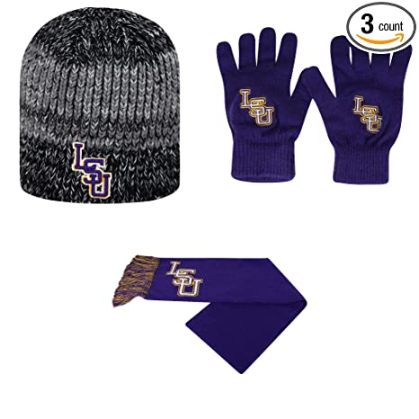 buy popular b75ca a950d NCAA LSU Tigers TOW Knit Glove Leeward Beanie Hat And Team Logo Scarf 3  Pack Bundle