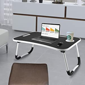 ZEGNEER Laptop Tray Table with Foldable Legs, Wood Bed Breakfast Tray, Smartphone Tablet Laptop Desk for Homework Online College, Portable Laptop Stand for Couch Floor Sofa Kid