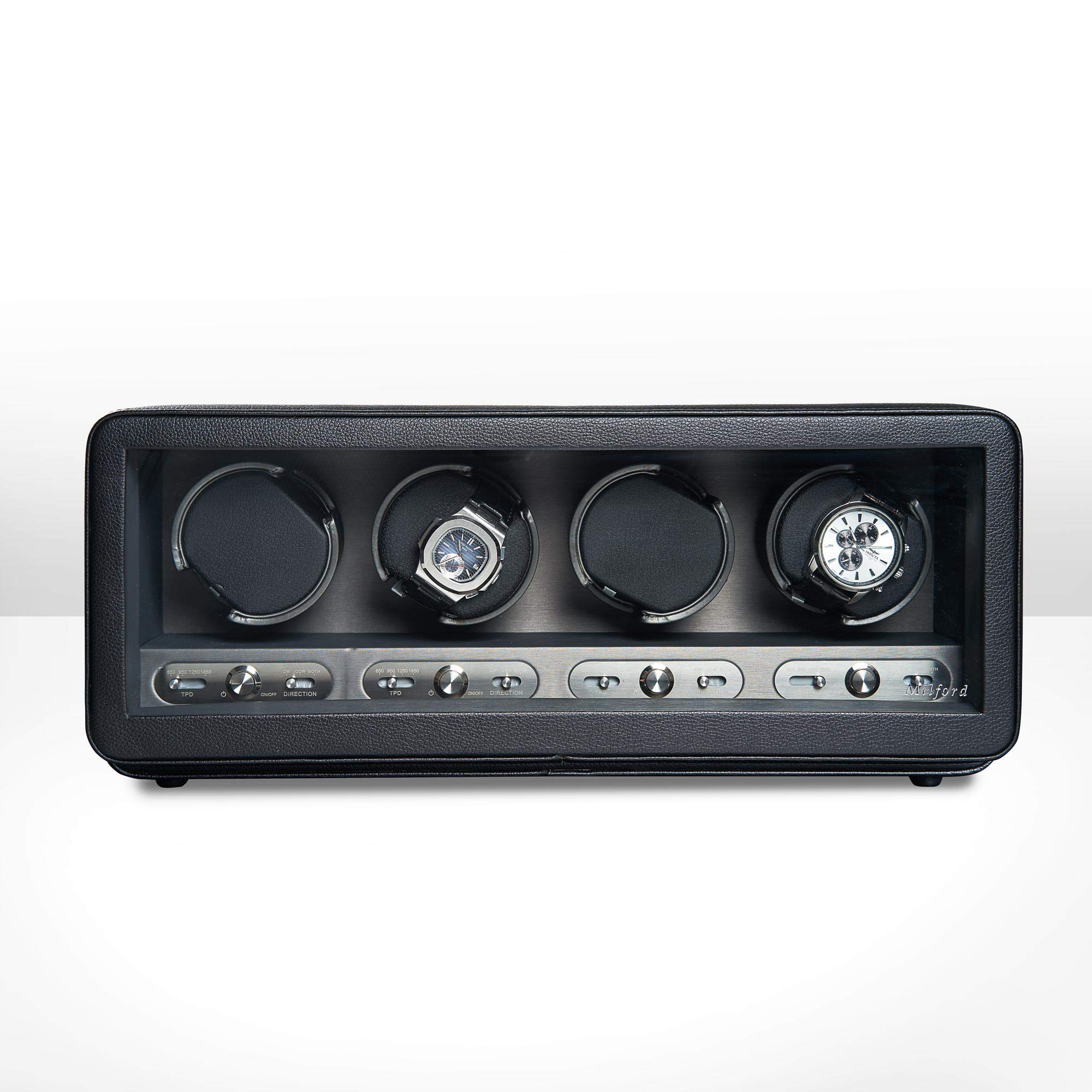 Milford Classic 4 Watch Winder for Automatic Watch/Adjustable TPD and Rotation Direction/Easy Set Up with Analog Controls/Battery or DC Power/Suitable for Safety Box/Luxurious Interior Lining