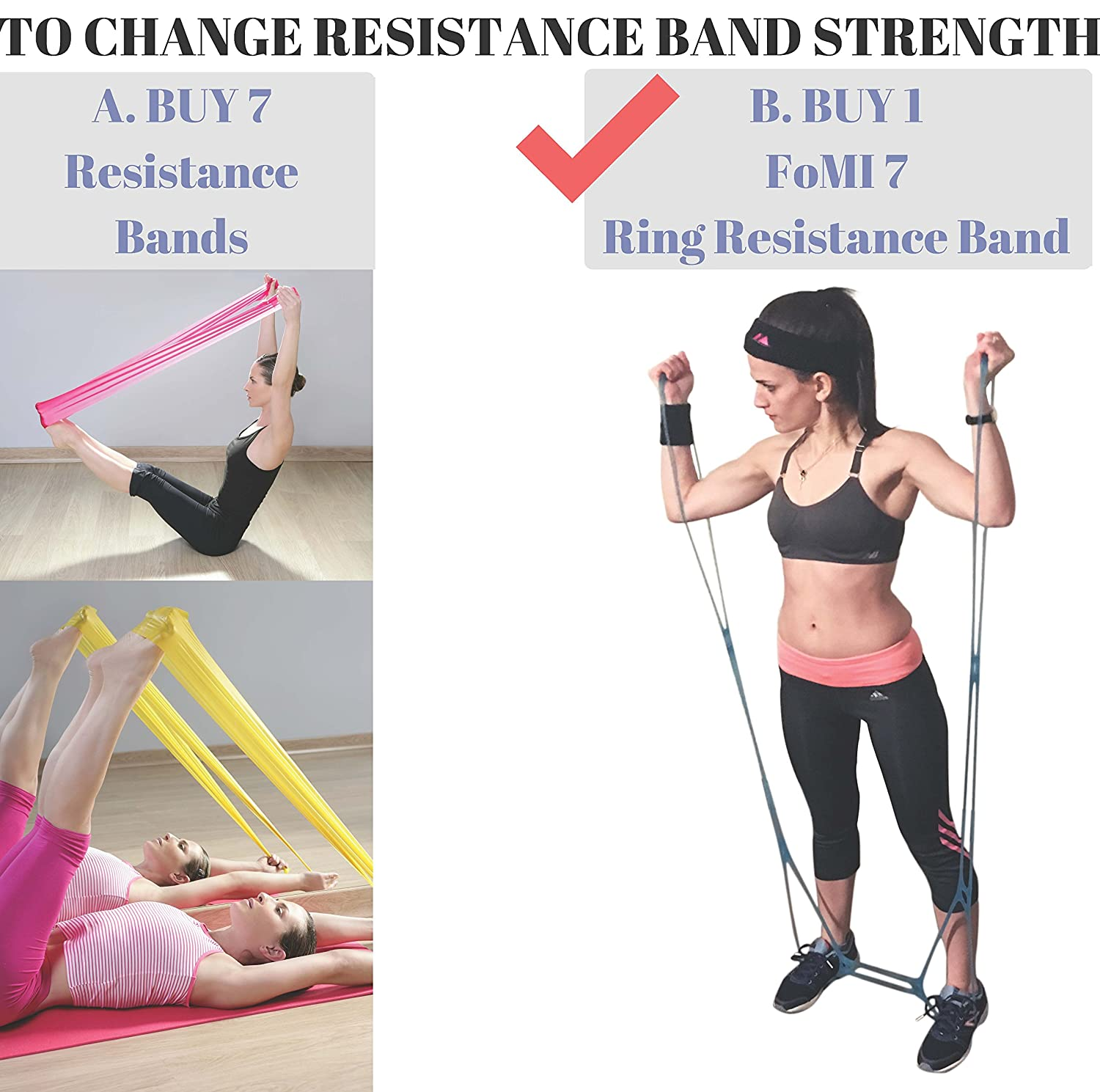 Portable Leg Foot for Home or Fitness Center Workout and Hand Stretcher Back FOMI 7 Ring Stretch and Resistance Exercise Band Physical Therapy Arm Exerciser