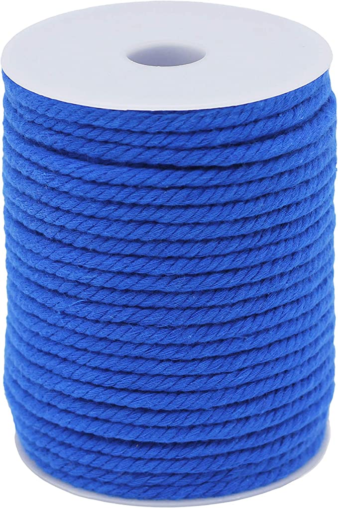 5mm 44Yards Cotton Cord Macrame Rope Plant Hanger Craft Wall Hanging Handmade Tapestry Not Recycle Material 4ply-5mm-40Yards-Blue
