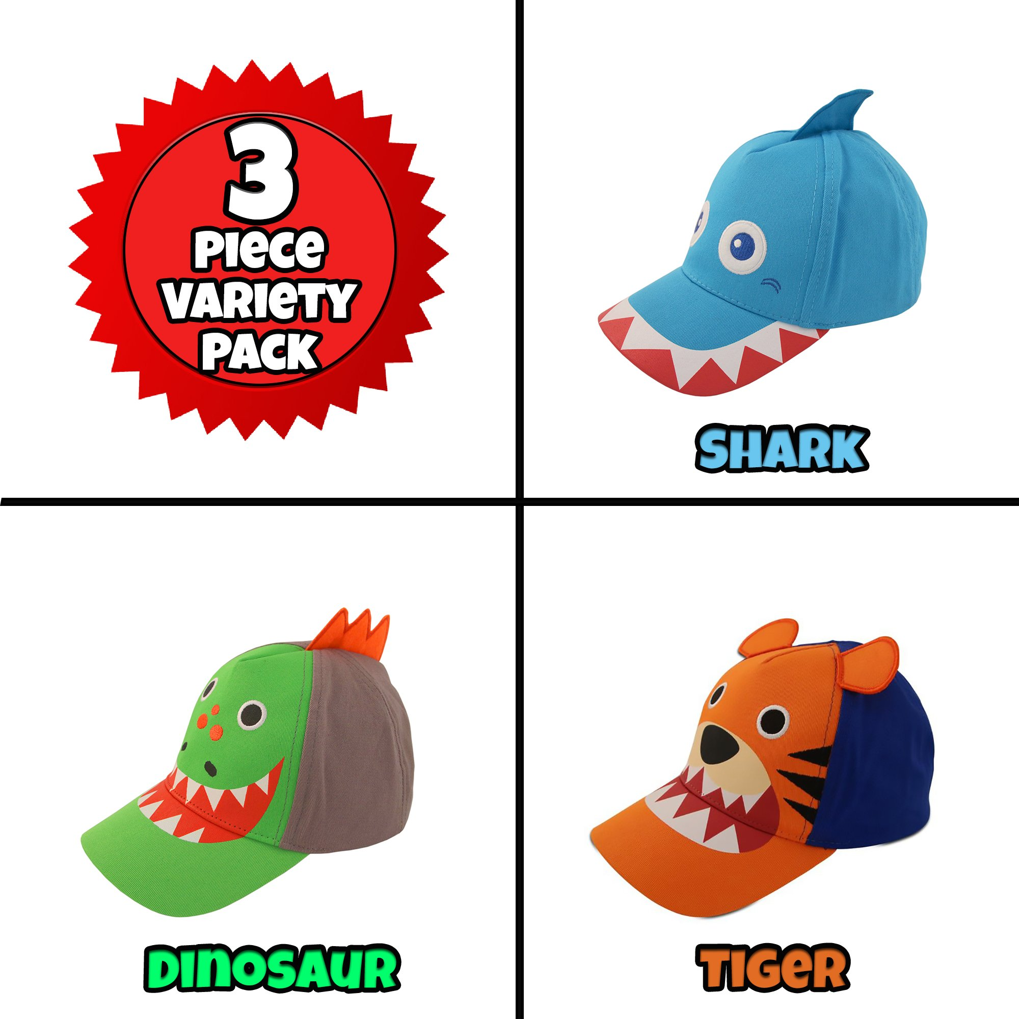 ABG Accessories Toddler Boys Cotton Baseball Cap with Assorted Animal Critter Designs, Age 2-4 (3 Piece Variety Design Pack)