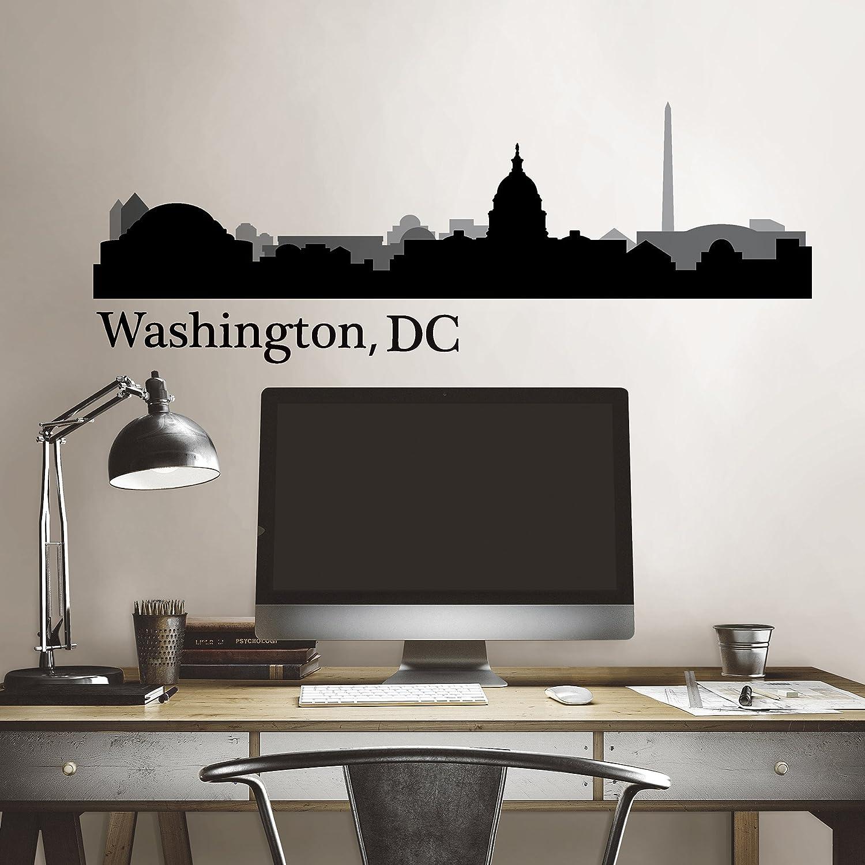 WallPops DWPK2572 Washington DC Cityscape Wall Art Kit Black