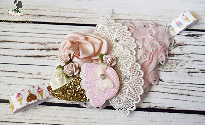 Amazon.com  1920s Headband - Vintage Baby Headband - Blush Gold Headband -  Ice Cream Headband - Feather Toddler Headband - Pink Rose Headband - Fancy   ... 68256d2aea1