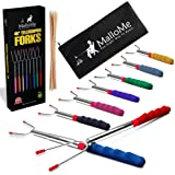 MalloMe Premium Marshmallow 45-inch Roasting Sticks Set of 8 Smores Skewers & Hot Dog Fork | Rotating Extending Patio Fire Pit Camping Cookware Campfire