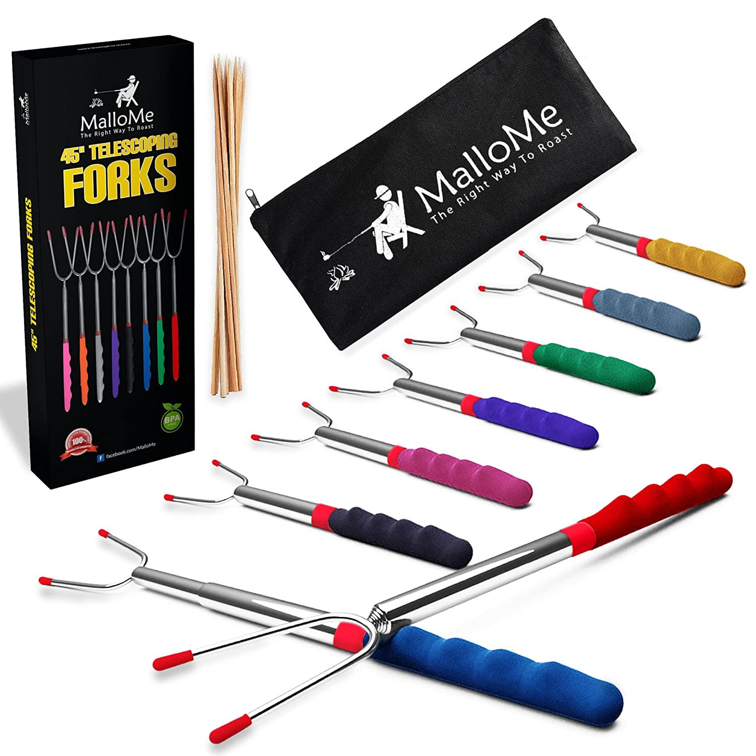 Marshmallow Roasting Sticks 8 Fork Set for Patio Fire Pit and Campfire Cooking. Superior 32 Telescoping BBQ Accessories are Perfect for Kids | FREE Canvas Travel Bag Pouch, 10 Bamboo Smores Skewers, & Ebook. Roast & Relax With Family & Friends