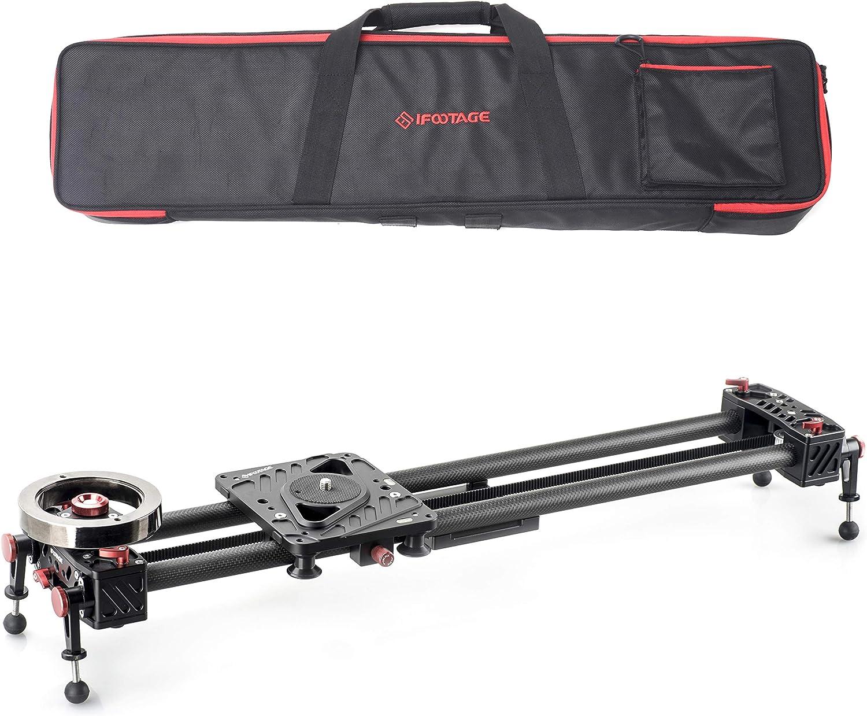 "IFOOTAGE 31"" Carbon Fiber Camera Slider Track Video Stabilizer Rail 6 Bearings Professional DSLR Camera DV Video Camcorder Film Photography, Load up to 15.5 pounds - Shark Slider S1(S1S)"