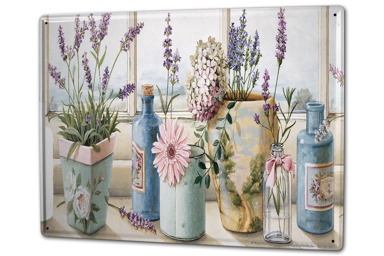 Tin Sign XXL Flower Shop Lavender bottles flower window