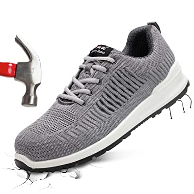 65d8cab9b607f Barerun Steel Toe Shoes Men Women Work Safety Shoes Breathable Industrial  Construction Shoes Outdoor Hiking Shoes Grey 15 M US Women / 11.5 M US Men