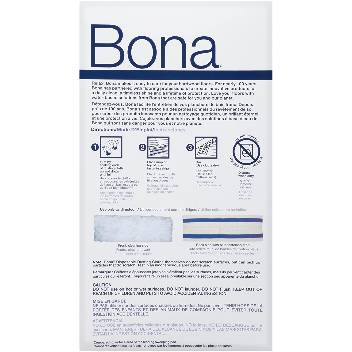 Bona MultiSurface Floor Disposable Dry Cleaning Pads 10 Count