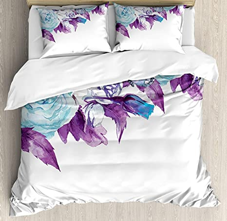 Floral 4 Piece Bedding Duvet Cover Sets For Kids Adults Teens Children King Luxury Soft Lightweight Brushed Microfiber Vintage Classic Flower Petals Bridal Wedding Romance Shabby Chic Design Art Kitchen Dining