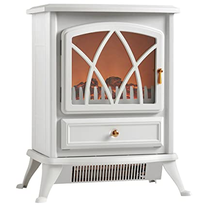 VonHaus Free Standing Electric Stove Heater Portable Home Fireplace With  Log Burning Flame Effect Adjustable 1500W
