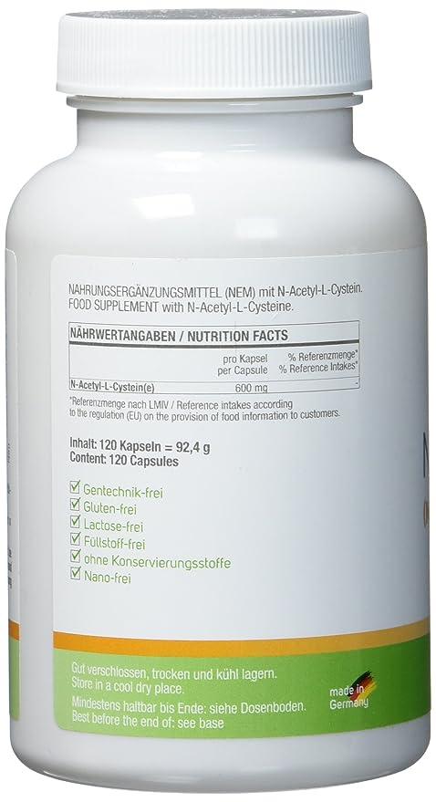 NAC - N-acetil L-cisteína 600 mg - 120 cápsulas: Amazon.es: Salud y cuidado personal
