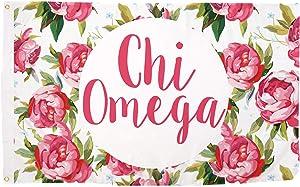 Chi Omega Rose Pattern Letter Sorority Flag Greek Banner 3 feet x 5 feet Sign Decor chi o (Flag - Rose)