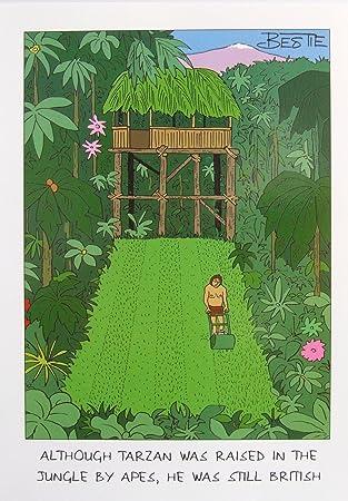 Lustige Grusskarte Tarzan Rasenmahen Geburtstag Vatertag