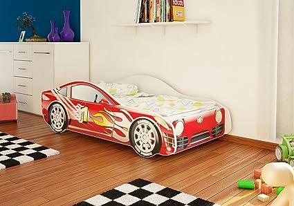 Cama infantil con diseño de coche en cuatro colores, con somier y colchón, 70 x 140 cm rojo