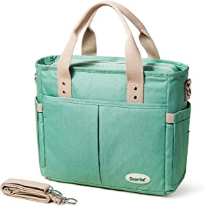 Insulated Lunch Bag, SCORLIA Large Lunch Tote Bag With Removable Shoulder Strap, Durable Reusable Cooler lunch Box Container Bag, Tall Drinks Holder for Women Men Work, Green