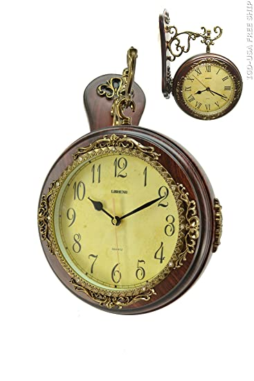 antique polyresin 2 side wall clock double face hanging clock