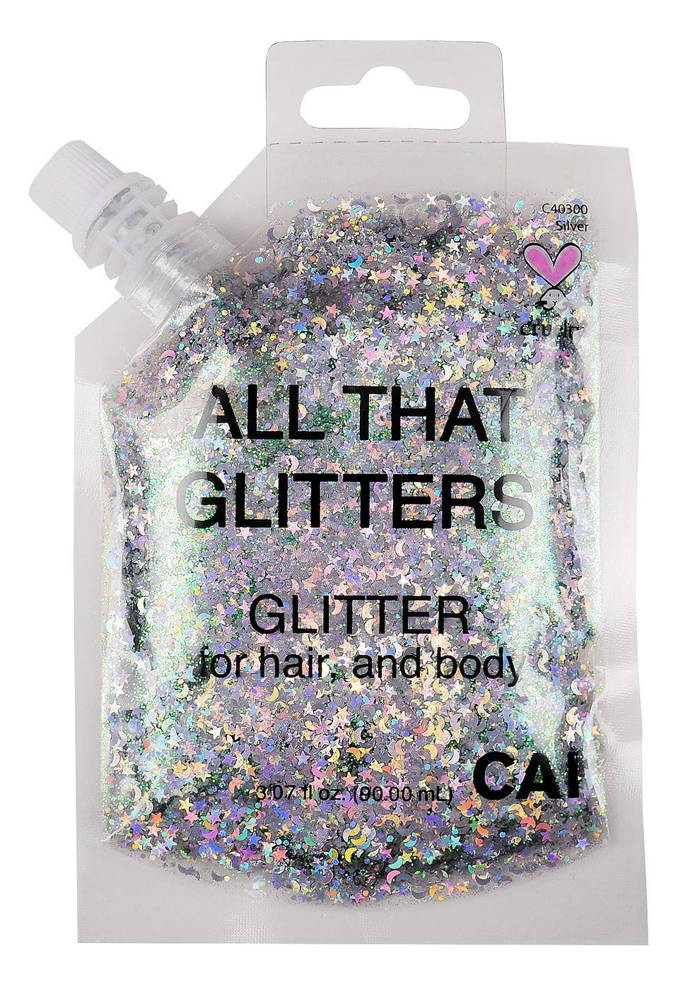 New Hair and Body Glitter Bag Pouch Holographic Cosmetic Grade Glamour (SILVER)