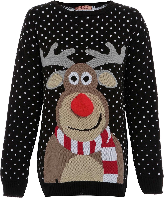 Da Donna Uomo Pom Pom Renna Rudolph Natale Maglione Unisex Natale Maglione S-XL