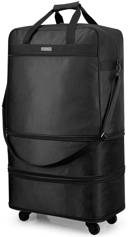 Hanke Expandable Foldable Suitcase Tote Luggage Bag Rolling Travel Duffel Garment Bag for Men Women