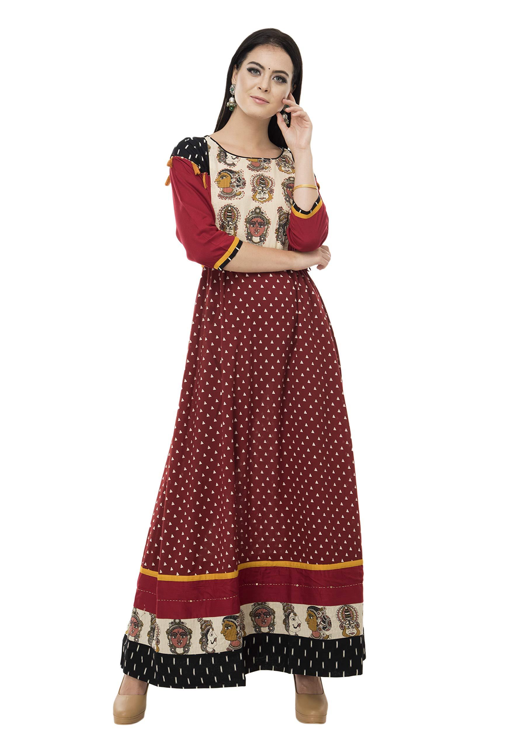 SABHYATA Womens Kurta Indian Kurtis for Women Cotton Casual Tunic Top Long Dress X-Large Black/Maroon